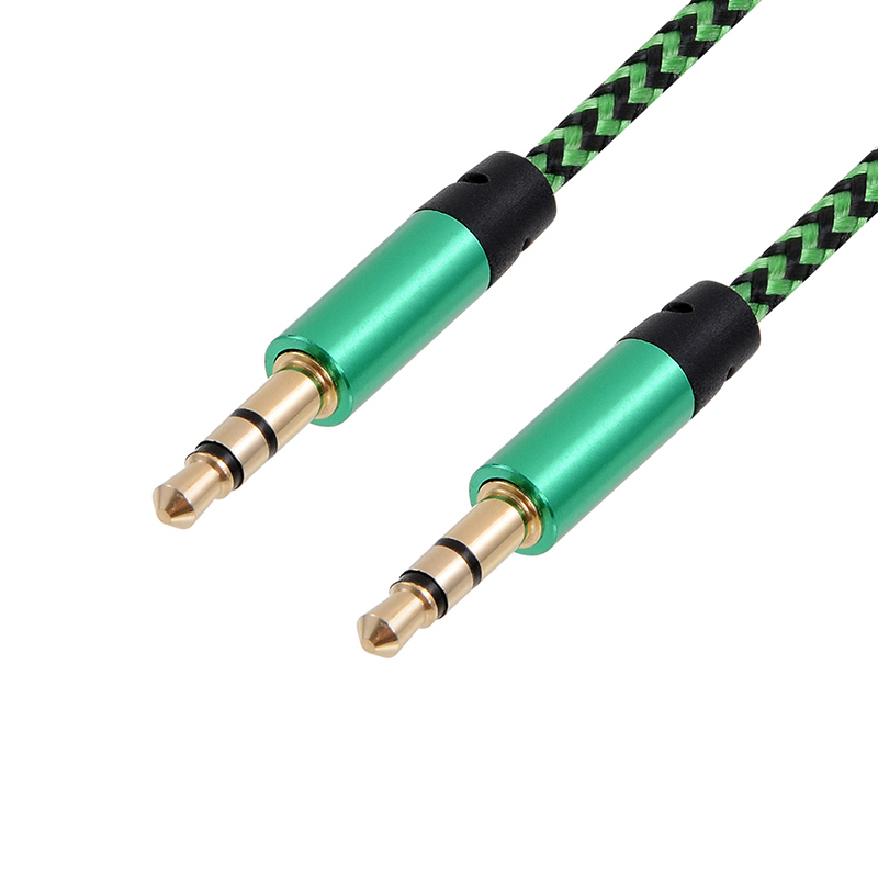 CatXaa 1m Long Aux Cable Car 3.5mm Male to Male Music Audio Earphone Cable Nylon Gold Plug Cord For Iphone Samsung Sound MP3 PC