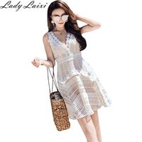 High end custom women summer fashion runway hollow out crochet dress Lace sexy beach mini dresses white color