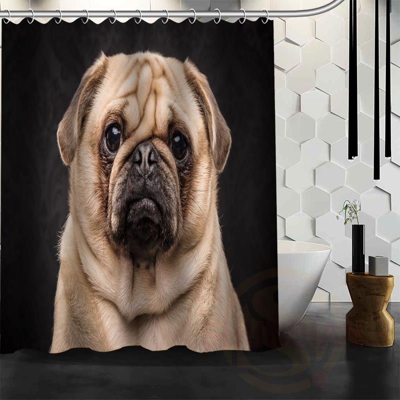 Best Nice Custom Dogs Pug Puppy Shower Curtain Bath Waterproof Fabric For Bathroom MORE SIZE WJY13