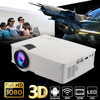 LED WIFI Projector 1080P HD Android4.4 3D Multimedia Beamer for Theater Home Cinema Presentation Video TV Movie with adapter