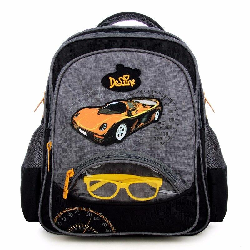 Delune Brand Boys Preschool creative cars glasses design school backpack bag children trendy primary students school bag
