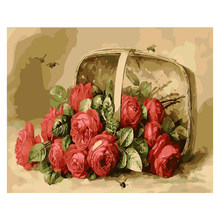 rose Flower basket Flower DIY Digital Painting By Number Modern Wall Art Canvas Painting Unique Gift Room Decor 40x50cm(China)
