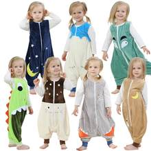 Flannel Warm Sleepwear Children Overalls Prevent Kick Halloween Baby Blanket Sleepers Animal Feet Pajamas Christmas Kids Rompers(China)