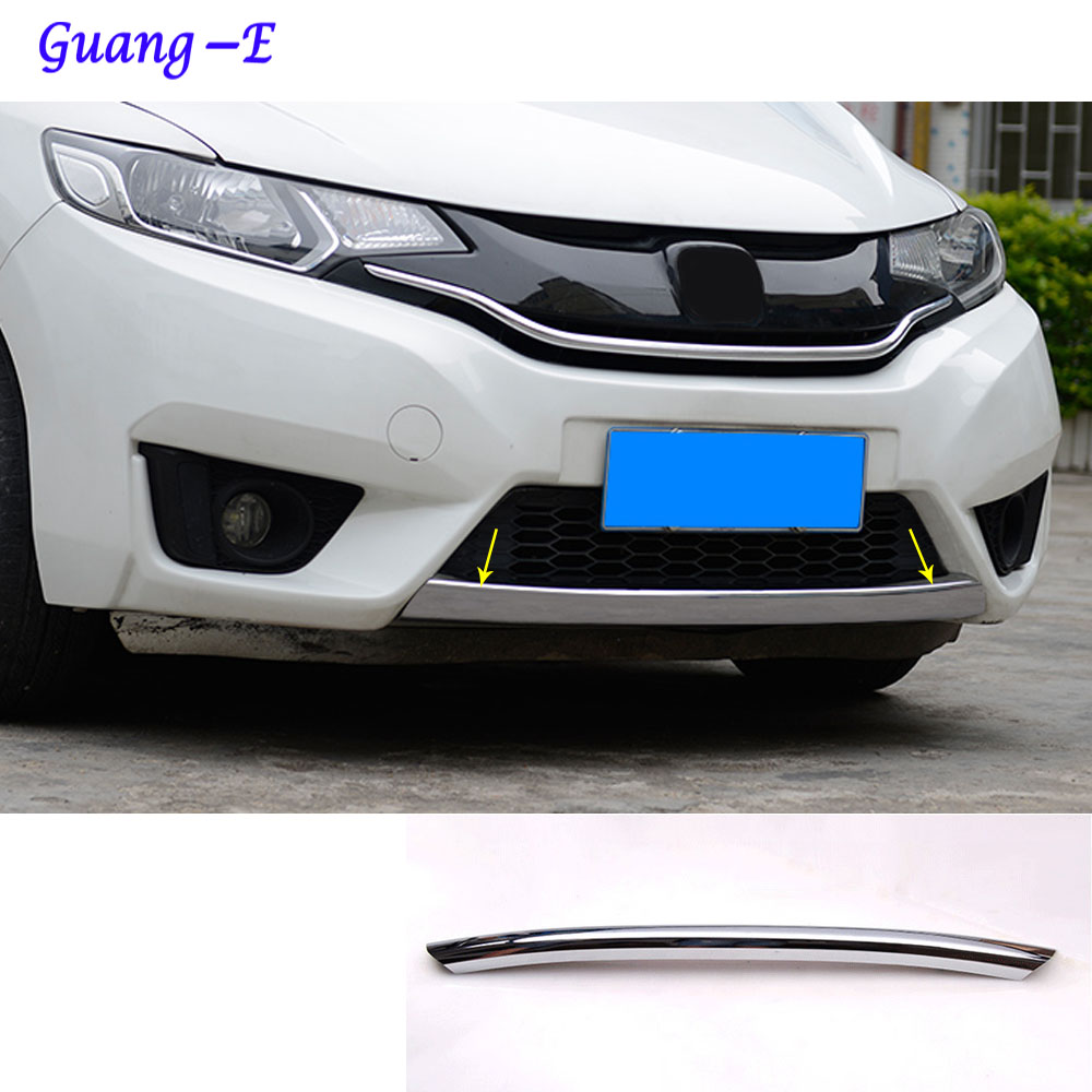 For Honda Fit jazz 2014 2015 2016 2017 car body cover Bumper engine ABS Chrome trim Front bottom Grid Grill Grille edge 1pcs car rear trunk security shield cargo cover for honda fit jazz 2014 2015 2016 2017 high qualit black beige auto accessories