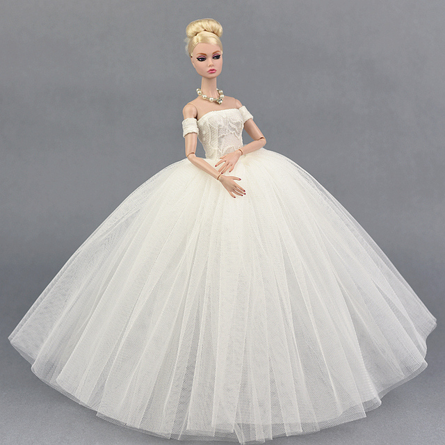 d308864cf3bf4 US $4.74 5% OFF|Dress + Veil / White Voile Party Dress Evening Gown Bubble  skirt Clothing Outfit Accessories For 1/6 BJD Xinyi FR ST Barbie Doll-in ...
