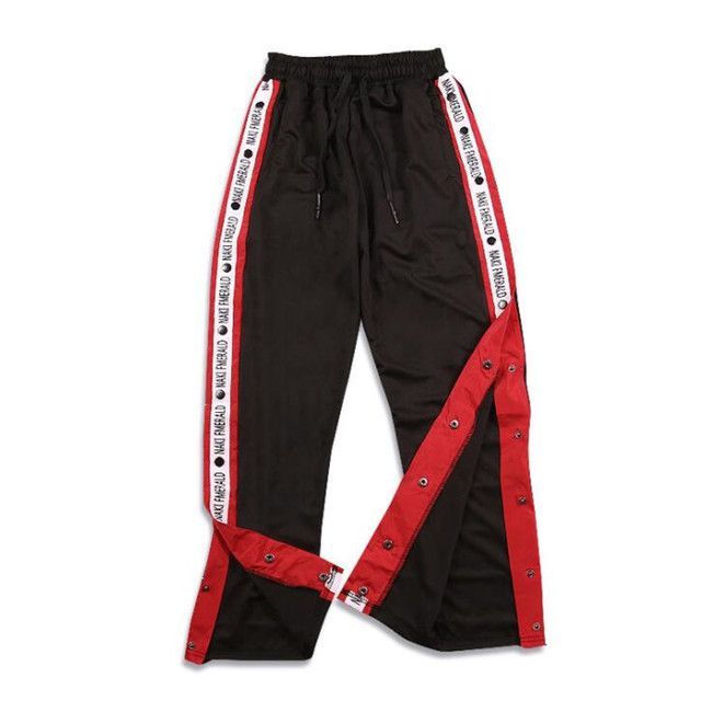 7df7ce45329a 2018 Autumn brand and Hip hop Men s pants ribbon ribbon sports pants Men s  side forkThe side open leisure retro pants couples