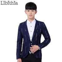 Men Clothing Striped Blazer Fashion Casual Blazer Masculino Blue Black Slim Fit Single Button Comfort Suit Male M 3XL K300