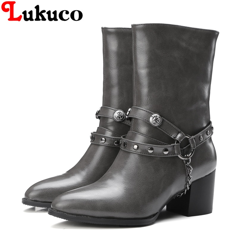 2018 Mid-calf boots super large size 36 37 38 39 40 41 42 43 44 45 46 47 48 fashion women shoes rivets design free shipping
