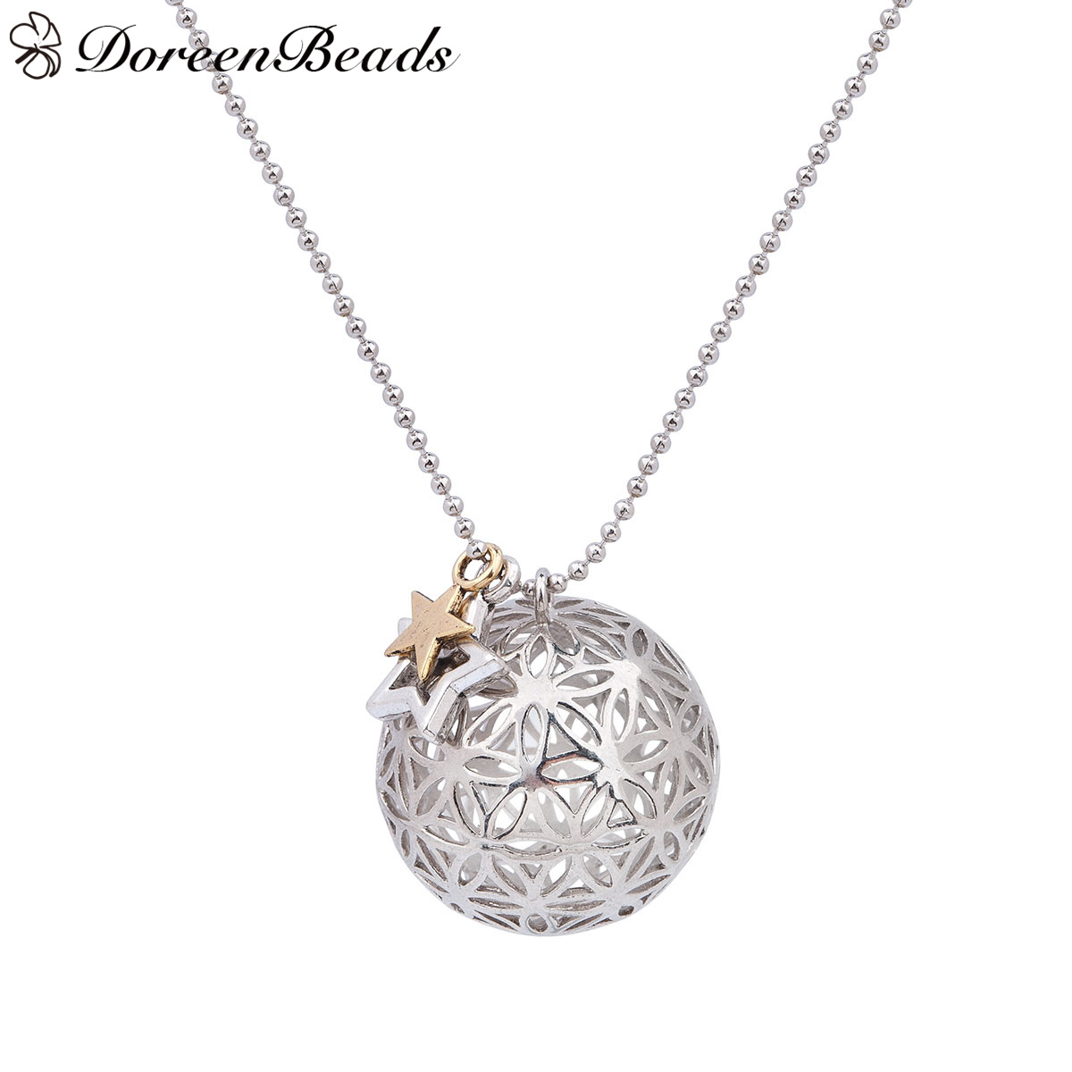 DoreenBeads Copper Flower Of Life Necklace Ball Chain antique dull silver color Pentagram <font><b>Star</b></font> Round Hollow 67cm long