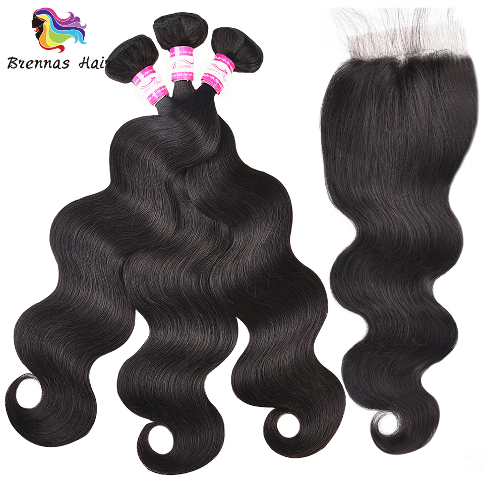 Top sell natural black color 3pcs with a 4 4 closure for a full head 100