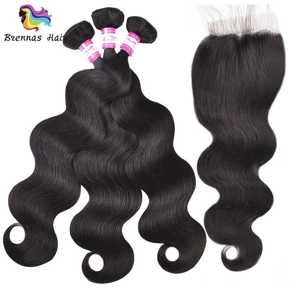 Top sell natural black color 3pcs with a 4*4 closure for a full head 100% Peruvian Body Wave Human Remy Hair Bundles for women