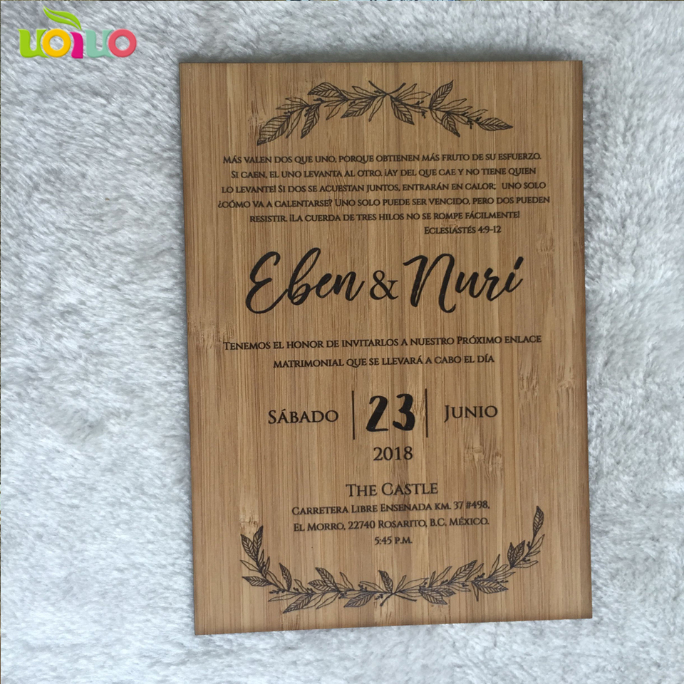 Hot Sale Printing Wooden Wedding Cards Customized Scan Text Wooden Wedding Card Birthday Party Invitation Card