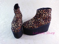Punk shoes Big shoes special custom shoes an*tai*na* Leopard thick base high side zipper rivet platform shoes custom 1382 2