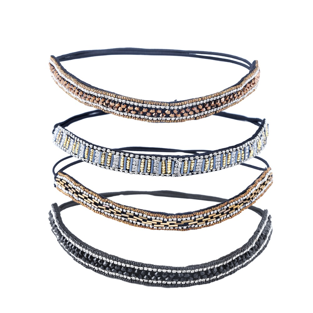 Luxury Handmade Crystal Beaded   Headwear   Headbands For Women Bridal Rhinestone Thin Elastic Hair Accessories Costume Decoration