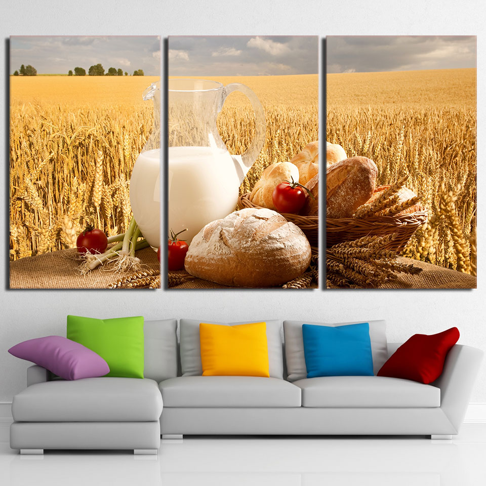 Canvas Wall Art Picture Frame Restaurant Decor 3 Pieces Gold Wheat Field Milk Sun Shines Landscape Living Room HD Printed Poster