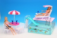 original for princess barbie beach umbrella chair summer pool furniture set 1/6 bjd doll parasol toy gift