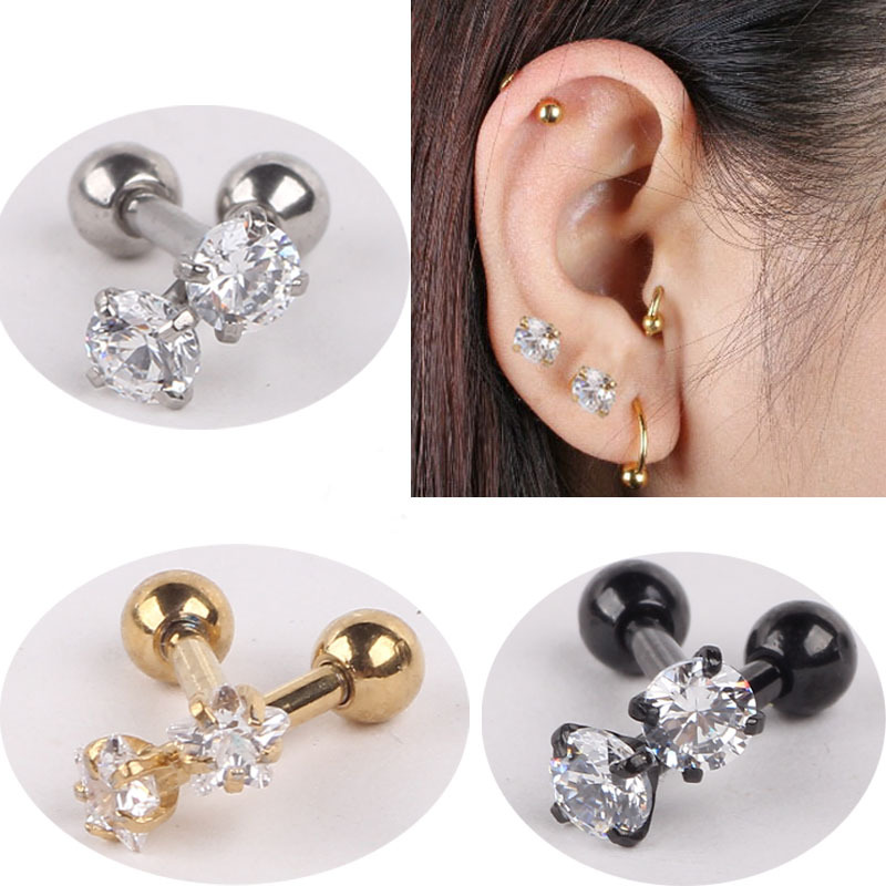 Stainless Steel Ear Piercing Gold Black Titanium Anodized Crystal Labret Rings I Shape Ear Stud Piercing Tragus Body Jewelry