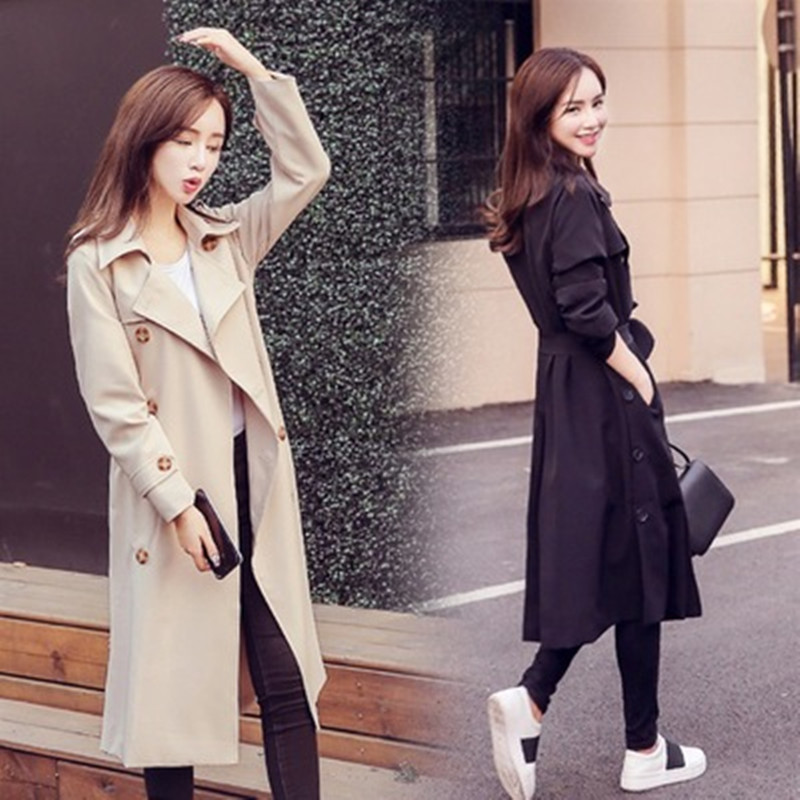 New 2018 OLGITUM Double-breasted Winderbreak   Trench   Female Fashion Long Solid Color Turn-down Collar Coat Outwear Femme TR111