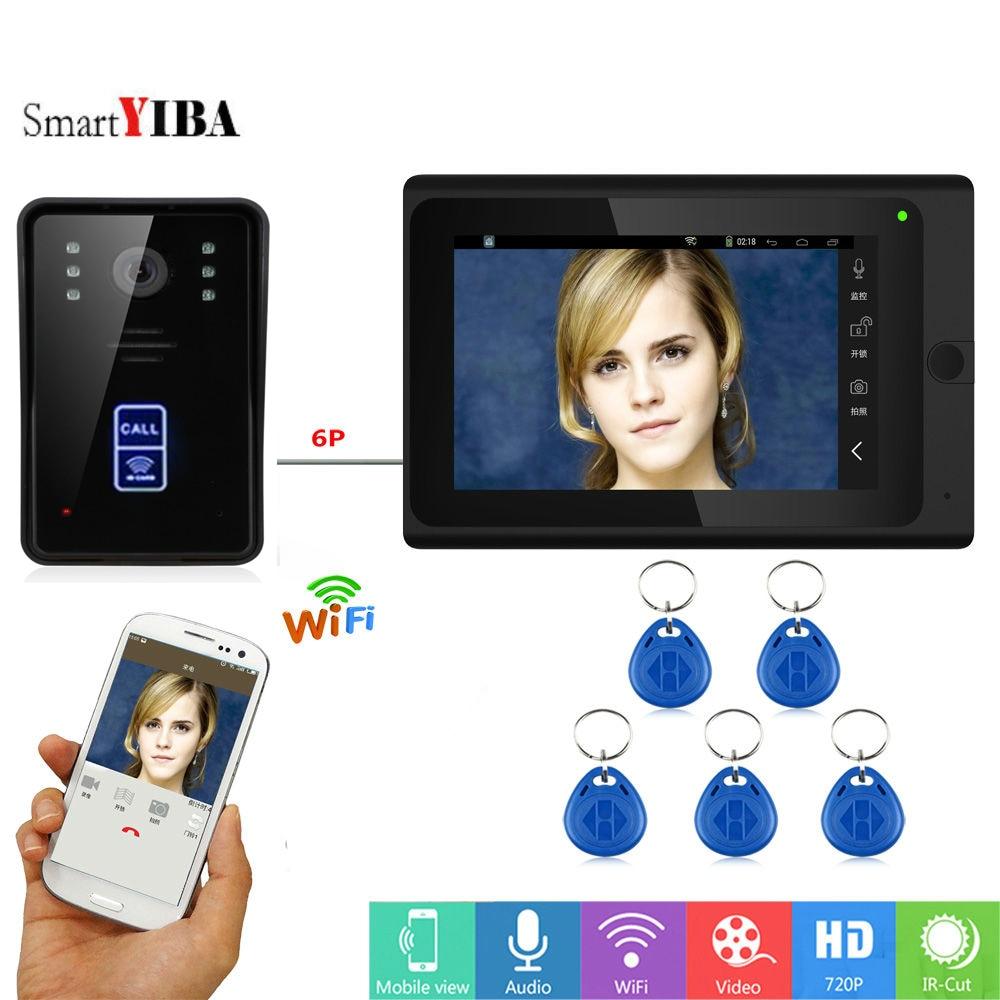 SmartYIBA RFID Video Intercom 7 Inch Monitor Wifi Wireless Video Door Phone Doorbell Speakephone Intercom System Android IOS APP