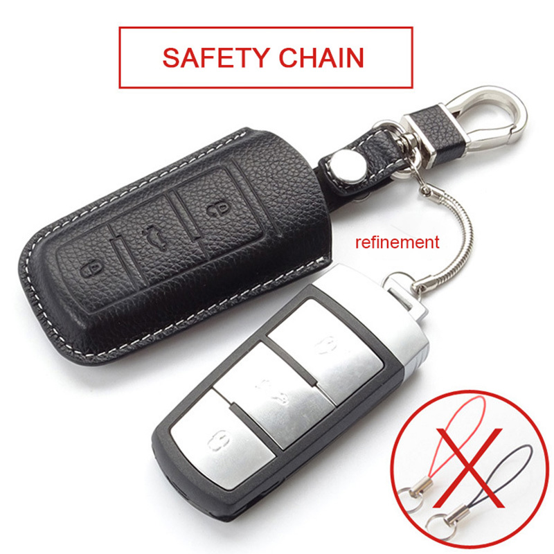 ANZULWANG Smart Start Car Key Cover Case Oil Wax Leather Buckle Case For Volkswagen CC MAGOTAN B8 Superb 2017 New Key Cover Case