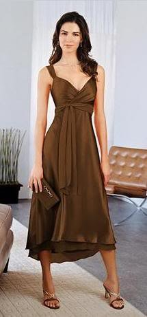 b0b8a886798 Free Shipping Stunning bronze chiffon bridesmaid dresses Short a-line skirt  knee-length skirt
