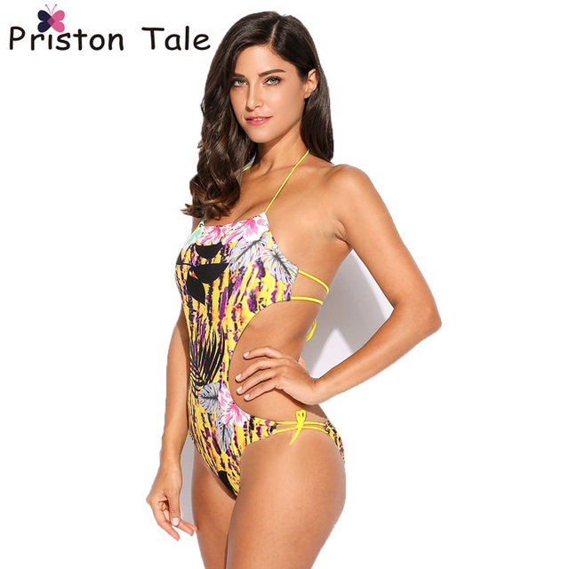 Hot Digital Print Swimwear Sexy Women Halter Leaves Print Backless Bodysuit  Monokini Side Cut Out Tie One Piece Swimsuit A47 5ff0b7c1e3e