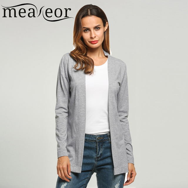 51017a8818a37 Meaneor Brand Basic Cardigan Women V-Neck Long Sleeve Casual Solid Cardigans  Spring Autumn Office Thin Soft Pop Outwear S-XXL
