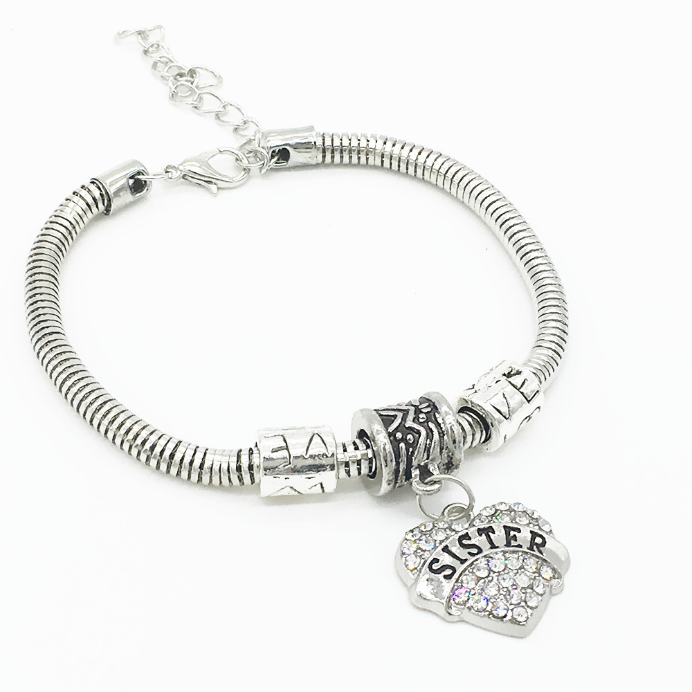 2017 New Fashion Snake Chain Silver Plated Crystal Heart Sister Or Mom  Bracelets With Charm Friendship
