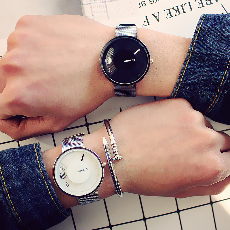 Classic Couple Stainless Steel Watch Men Women Fashion Casual Black Silver Wristwatch Retro Simple Lady Wristwatch Relogio Gift