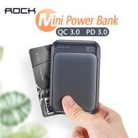 Рок 18 W Тип C PD QC 3,0 Мощность Bank 10000 mah внешний мини-аккумулятор USB PD Быстрый быстрой зарядки Мощность банка для iphone XS X samsung