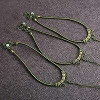 アラジンハンド編みシルクパッチコードレトロファッションスタイルダークグリーンネックレス硬玉ペンダントハングロープ高品質ジュエリーdiy