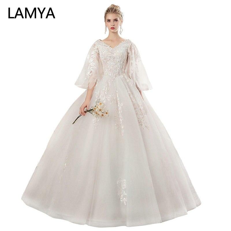 LAMYA 2018 New Lace Three Quarter Lantern Sleeve Wedding