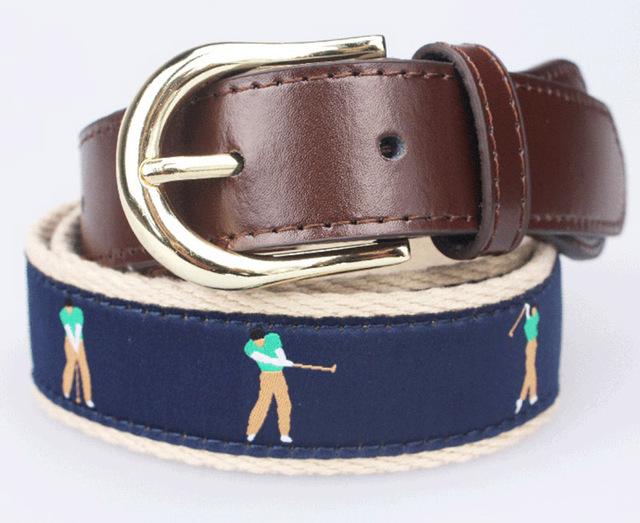 Nuevo estilo y patrón de diseño famosos hombres cinturón marca de lujo con pople encaje de aguja de la correa de cuero para cinturón golf hombre