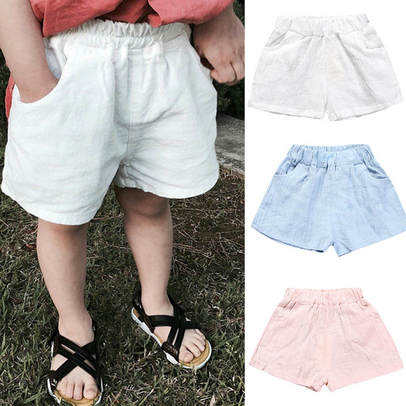 Children Harem Pants for Baby Cotton Linen Summer Beach Trousers Boys Girl Loose   Shorts   Size1-7Y Toddler Baby Kids Clothes