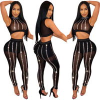 Stripe Diamonds Sheer Mesh See Through Two Pieces Set Night Club Crystal Details Sleeve Crop Tops High Waist Skinny Pants Suit
