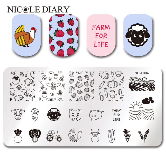 NICOLE DIARY Farm Crops Strawberry Sheep Stamping Template Rectangle ...