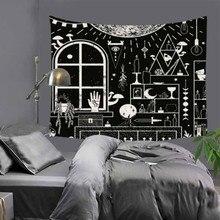 Cilected preto e branco horror caveira tapeçaria mobiliário doméstico parede pendurado toalha de mesa poliéster cobertor praia toalha tapete 9 cor