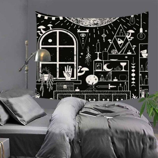 Cilected siyah ve beyaz korku kafatası goblen ev mobilyası duvar asılı Polyester masa örtüsü battaniye plaj havlusu Mat 9 renk