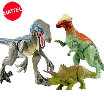 цена на 16-20cm Original Jurassic World Toys Attack Pack Velociraptor Triceratops Dragon PVC Action Figure Model Dolls Toys For Children