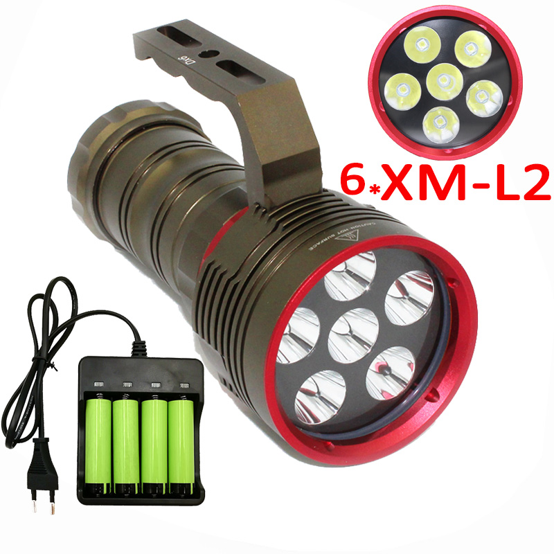 7000LM Underwater 6x  XM-L2 LED Diving Flashlight Scuba Dive Light Lamp Diving Torch Lantern +4x 18650 Battery +Charger