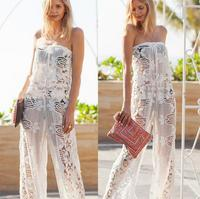 New Sexy lace Crochet Beach Cover Up Knitted Beach Tunic Women Bikini Cover ups Beachwear Cover Up Rompers