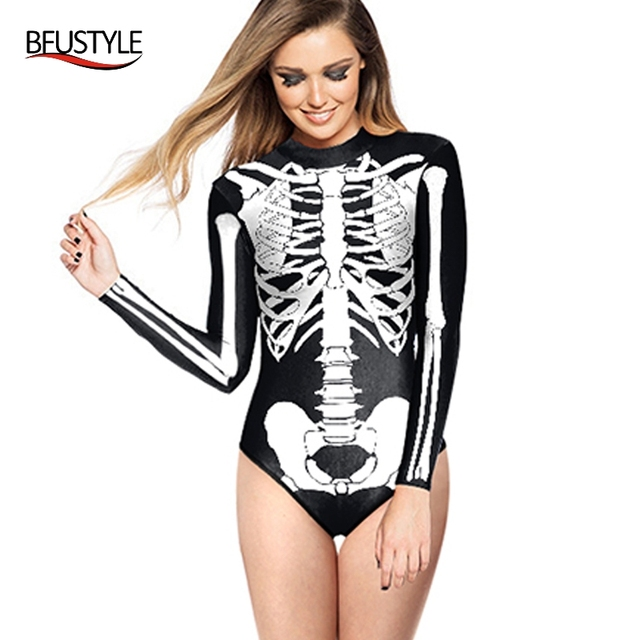 f0e2185f5ce One Piece Swimsuit Long Sleeve Zippered Surfing Bathing Suit White Skull  Printed Swimwear Women 2018 Maillot De Bain BFUSYLE