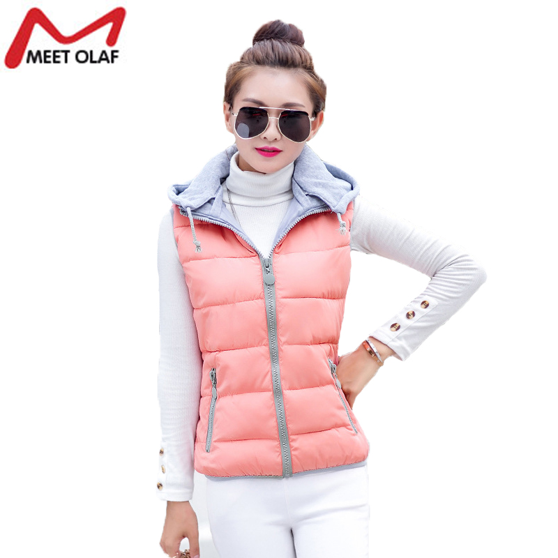 Winter Jacket Women Vest Hooded Down Cotton Warm Waistcoat