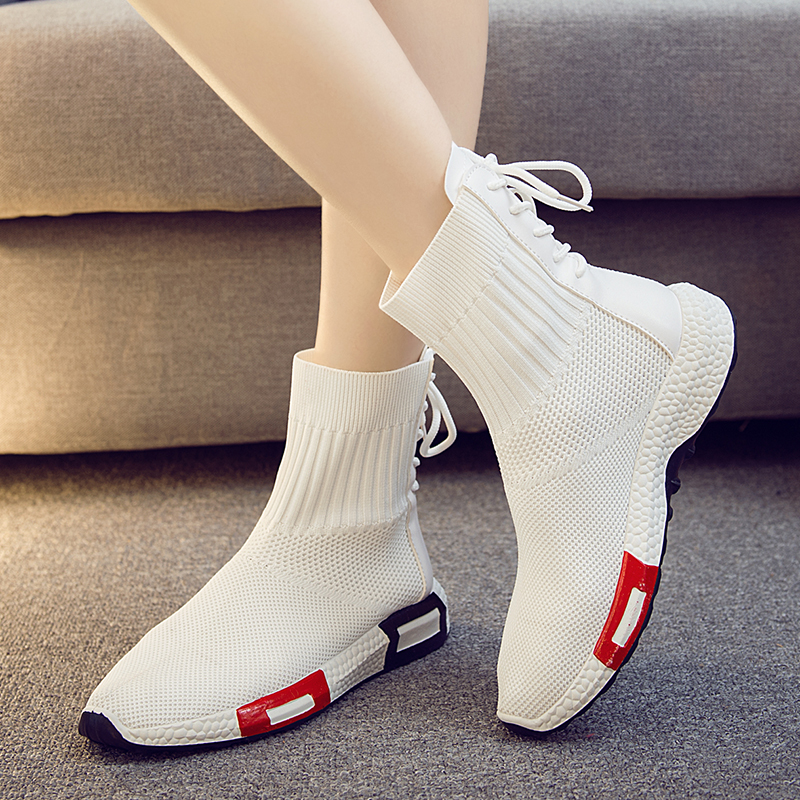 2018 Fashion High Top Sneakers Canvas Shoes Women Casual Shoes White Flat Female Basket Lace Up Solid Trainers Chaussure