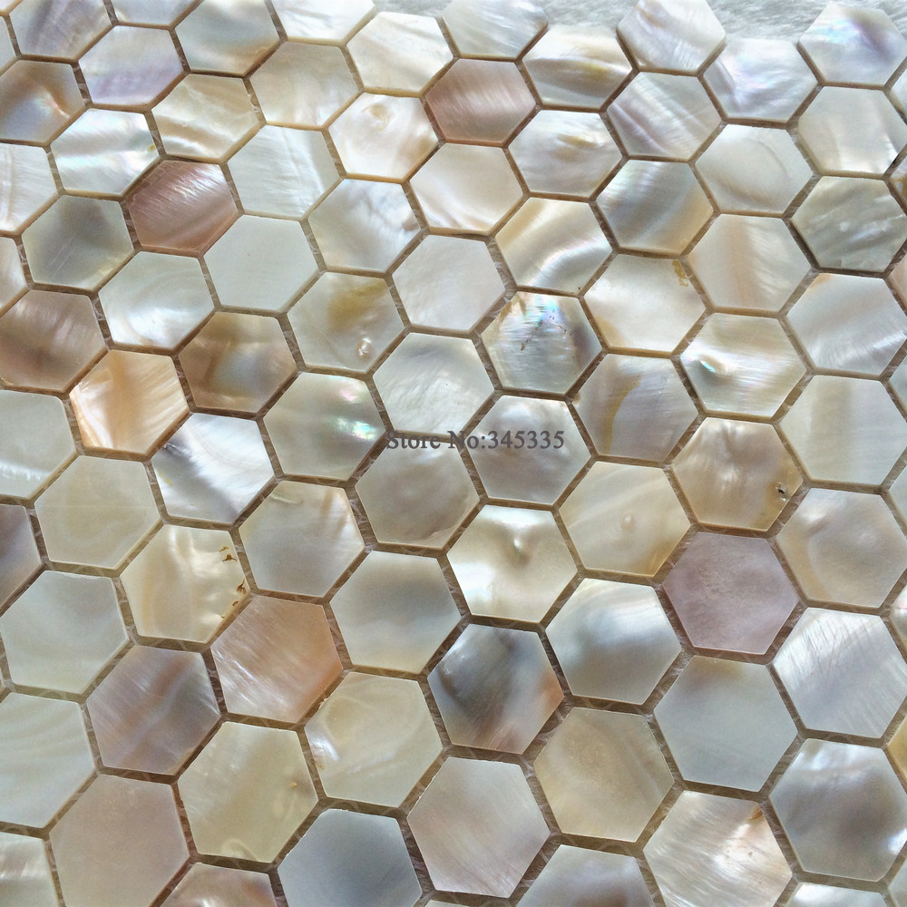 Paua tiles for bathroom - 11pcs Natural Hexagon Shell Mosaic Tile Mother Of Pearl Kitchen Shower Bathroom Backsplash Tv Background Wall