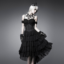 PUNK RAVE Women Gothic Lolita Sexy Flocking Dovetail Corset Dress Steampunk Black Sleeveless Evening Party Backless