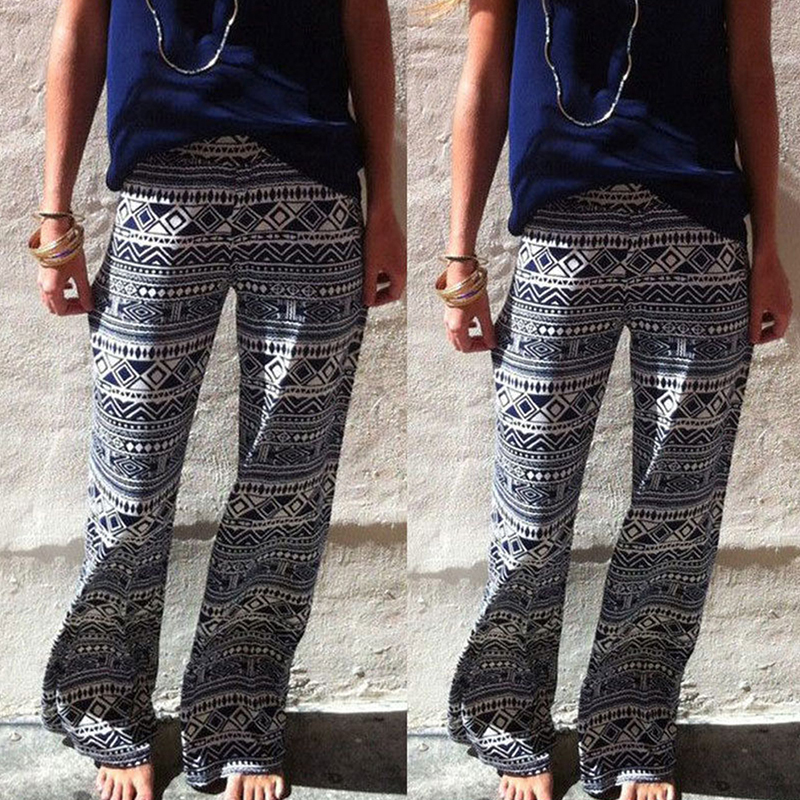 e9077a35c1 2017 new fashion women high waist geometric loose print pants straight full  length bohemian trousers beach pant