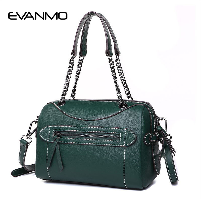 New Arrival Winter Women Boston Bags Women Genuine Leather Handbags Classic Litchi Pattern Shoulder Bag Fashion Chain Strap Bags 2017 spring and summer new women genuine leather handbags fashion litchi grain first layer of leather bags female shoulder bags