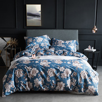 CHAUSUB Luxury Print Bedding Set 4pcs 60S Satin Egpytian Cotton Duvet Cover Set King Queen Size Bed Sheets Silk Bed Linens
