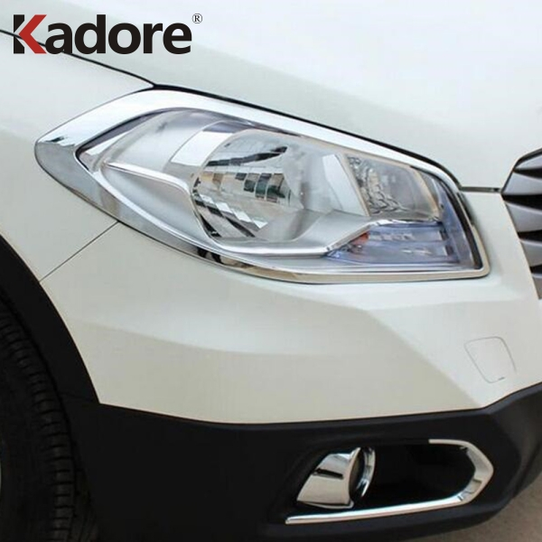 For Suzuki SX4 S Cross Crossover 2014 2015 2016 ABS Chrome Front Lamp Cover Headlight Trim